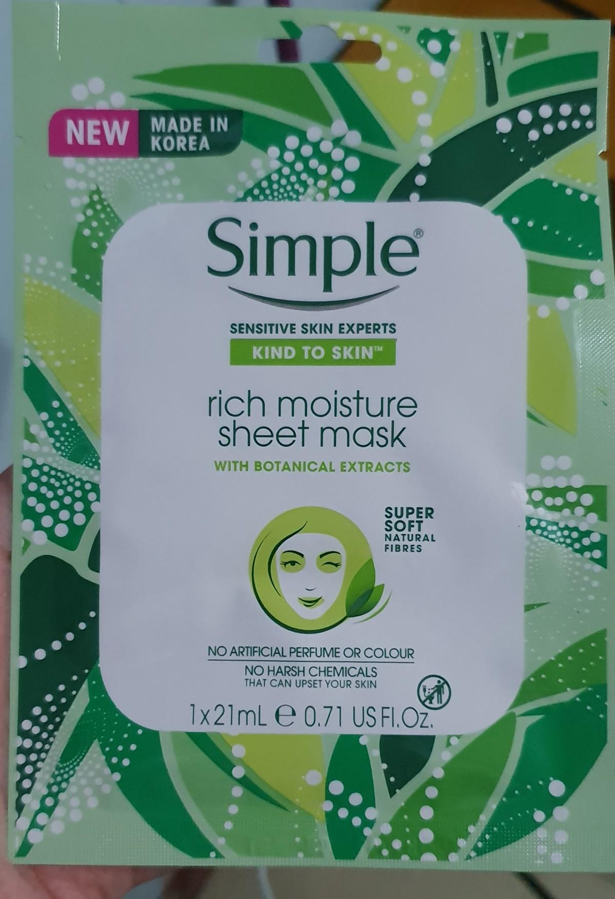 Simple Rich Moisture SheetMask